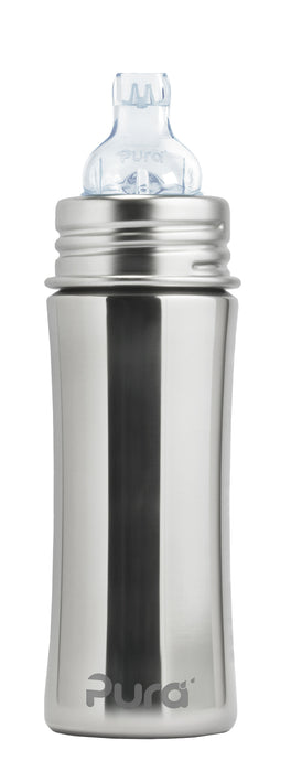 Pura Kiki 325ml Toddler Sippy Stainless Bottle - Natural