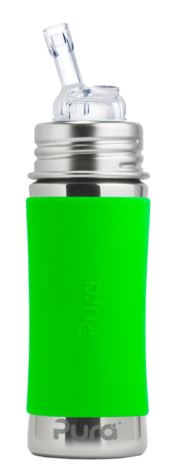 Pura Kiki 325ml Straw Stainless Steel Bottle - Green Sleeve