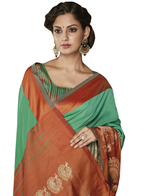 Stylee Lifestyle Women's Jacquard Saree in Green