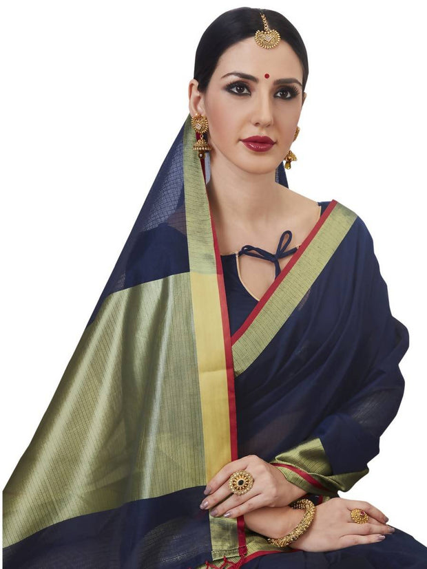 Stylee Lifestyle Women's Kota Doria Woven Saree in Blue