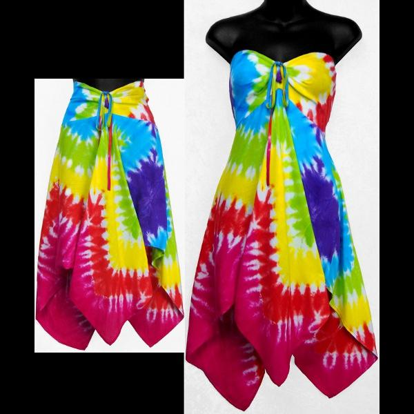 Diamond Tie-Dye Convertible Top/Skirt-Tops-Peaceful People