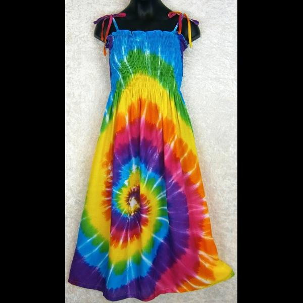 Girl's Rainbow Spiral Tie-Dye Dress (Ages: 4, 6, 8, 10, 12)-Dresses-Peaceful People