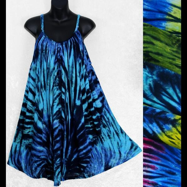 Poly Chromatic Tie-Dye Parachute Dress-Dresses-Peaceful People