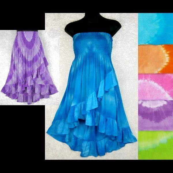 Tie-Dye Circle Ruffled Convertible Top/Skirt-Tops-Peaceful People