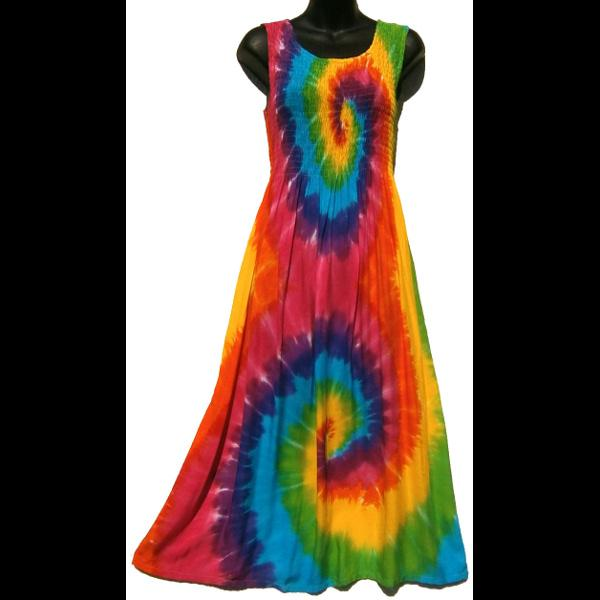Rainbow Spiral Sarong Tank Dress-Dresses-Peaceful People