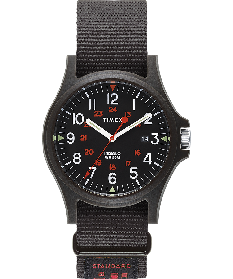 Timex - Timex Acadia 40mm Military Grosgrain Strap Watch - Black