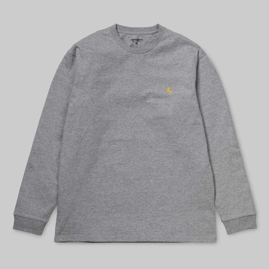 Carhartt WIP -  Long Sleeve Chase T shirt - Dark Grey Heather / Gold