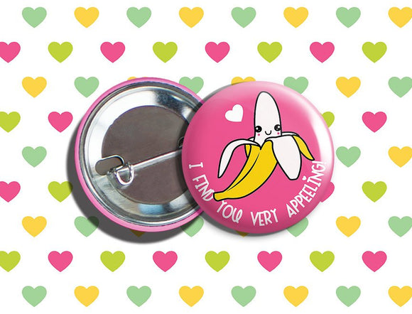 Kawaii Banana Valentine's Day Vegan/Vegetarian Pinback Button 1.75
