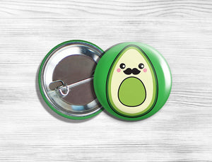 Kawaii Mr. Avocado Vegan/Vegetarian Pinback Button Pin 1.75""