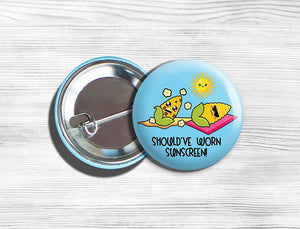 "Kawaii Corn Vegan/Vegetarian Pinback Button Pin 1.75"" ""Should've Worn Sunscreen!"""