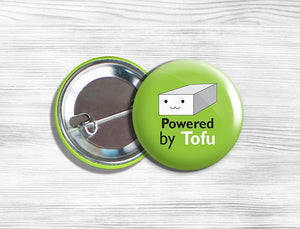"Vegetarian Vegan ""Powered By Tofu"" Pinback Button Pin 1.75"" Green"