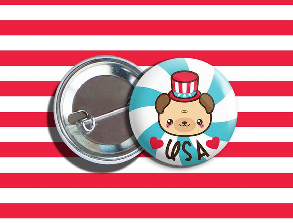 Kawaii Bear 4th of July Vegan Veggie Vegetarian Pinback Button 1.75