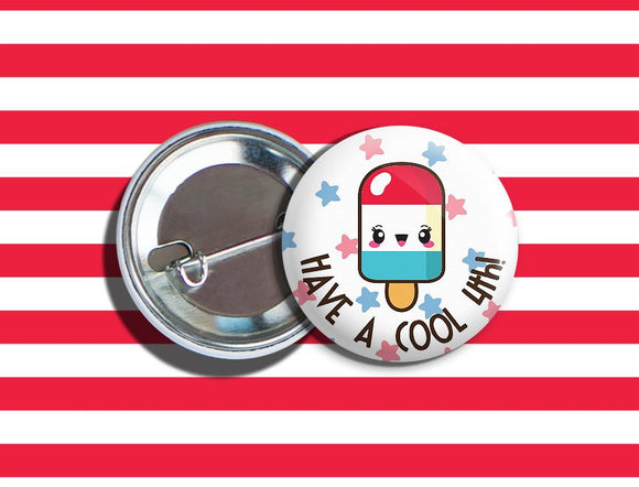 Kawaii 4th of July Popsicle Vegan Veggie Vegetarian Pinback Button Pin 1.75