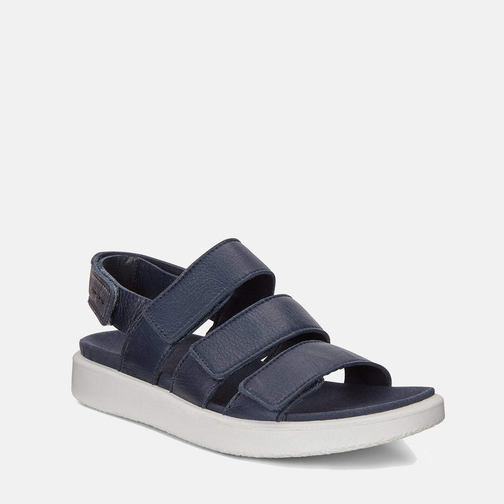 Ecco Footwear UK 3.5 / EU 36 / US 5-5.5 / Navy Flowt W 273633 01038 Marine - Ecco Ladies Navy Blue Soft Leather Sandals with Velcro Fastening