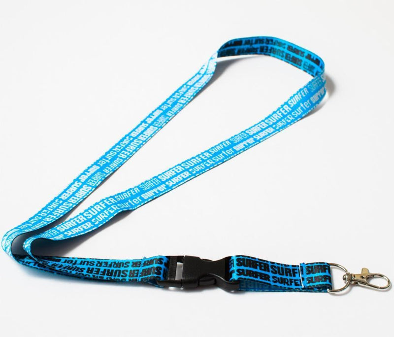 Surfer lanyard blue with black logos on one side and white logos on other side