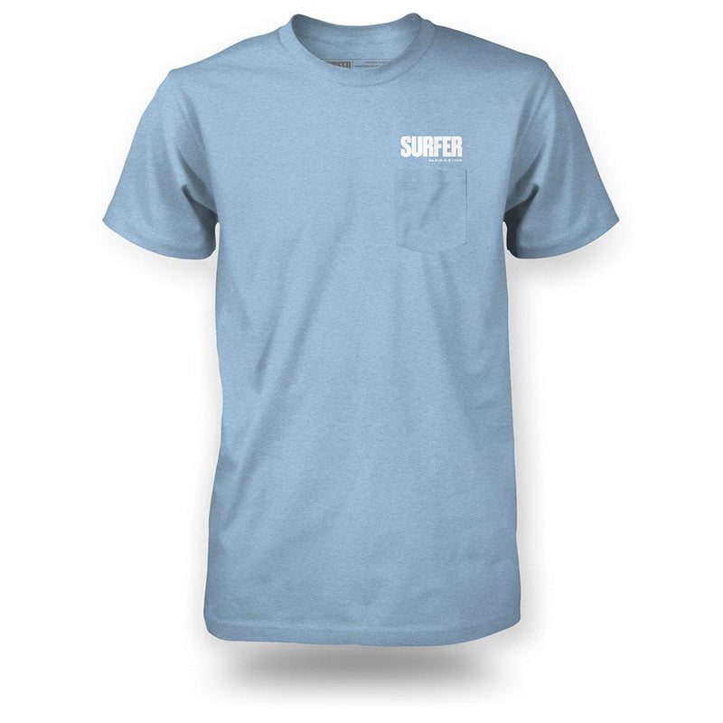 light blue shirt with white surfer magazine logo above pocket