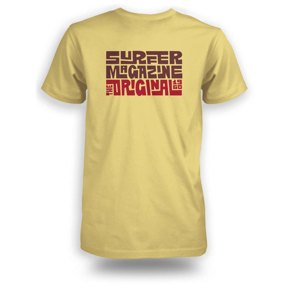 Yellow surfer tee back view with tiki logo graphic in brown and red