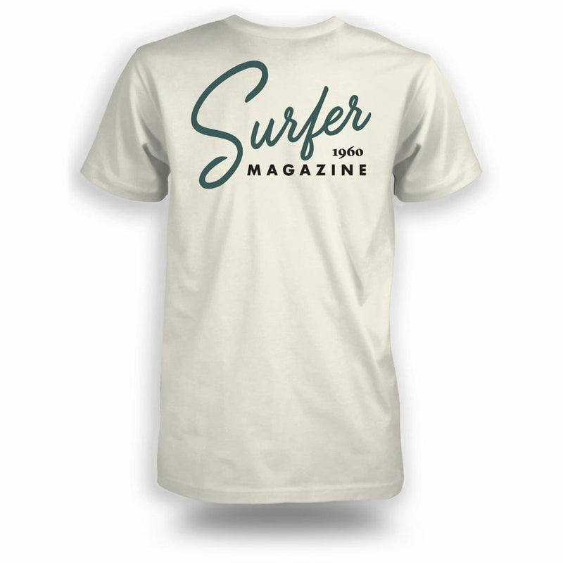 Bone t-shirt with teal Surfer magazine scripted graphic on back