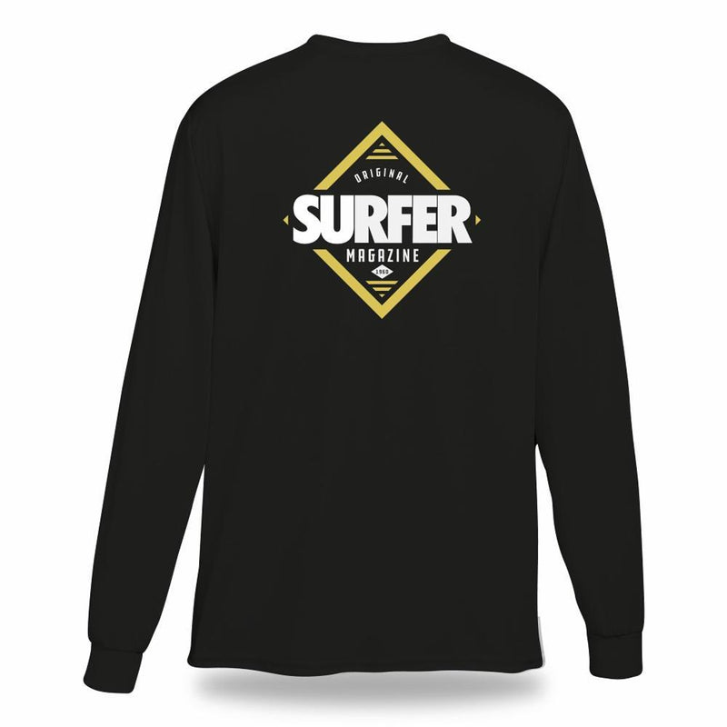 Black long sleeve t-shirt with white and gold SURFER Magazine diamond graphic on back