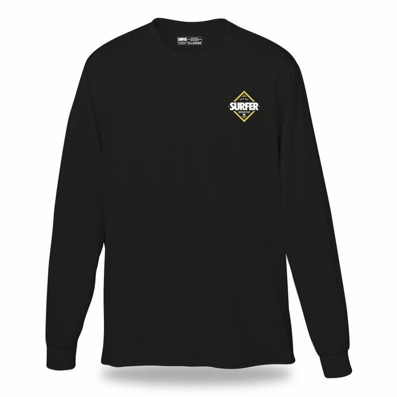 Black long sleeve t-shirt with white and gold SURFER Magazine diamond graphic on left chest