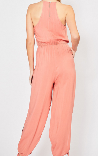 Salmon solid jumpsuit with side pockets