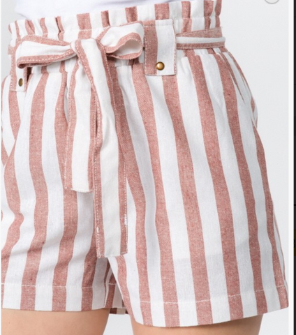 Linen Stripe Waist Ribbon Tie Shorts