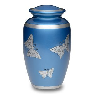 Beautiful Blue with Butterflies Cremation Urn Ever My Pet