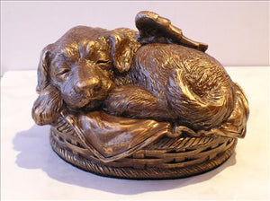 Sleeping Angel Dog Personalized Urn (Bronze)