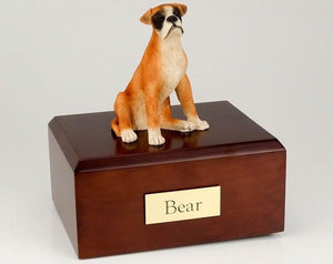 Boxer Ears Down Figurine Dog Pet Urn
