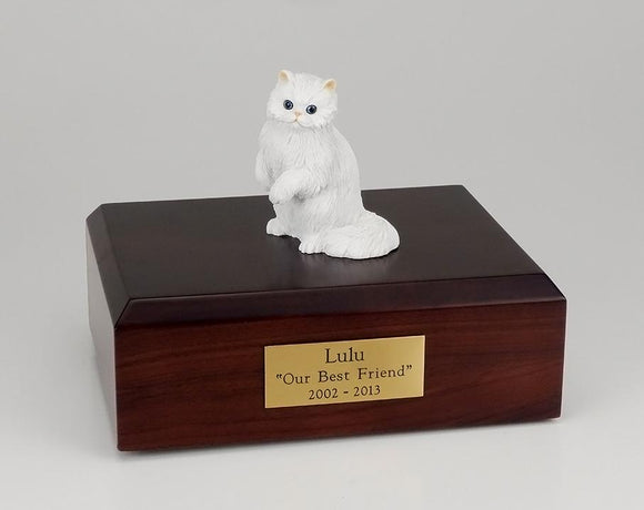 Cat Persian (White) Sitting Up Cat Cremation Urn