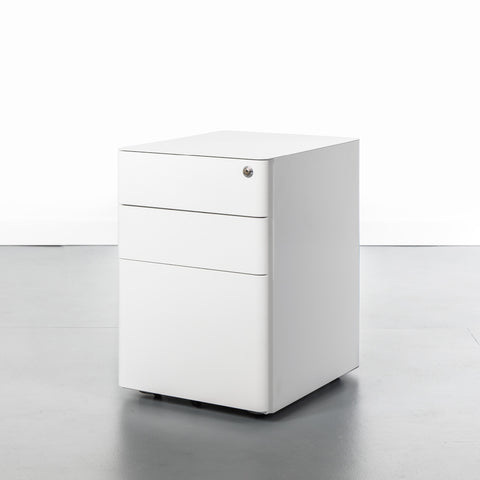 White office storage cabinet with 3 drawers