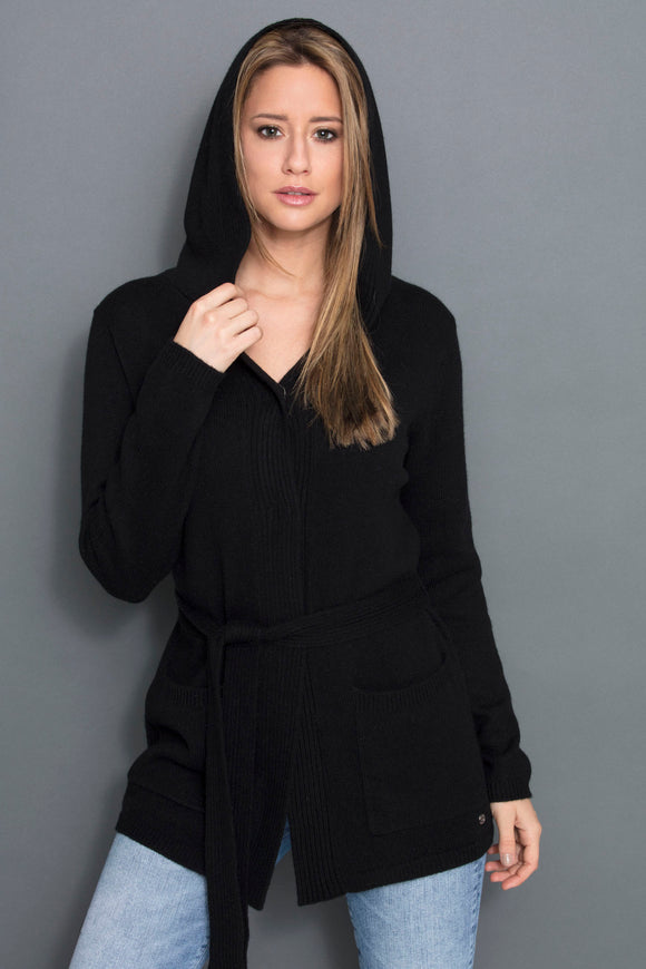 DONNA LONG CARDIGAN FOR WOMEN WITH HOOD