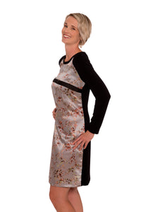 Piccadilly Silk Birds Breastfeeding Dress - Silver