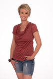 Paisley Cowl neck top - Red Stripe