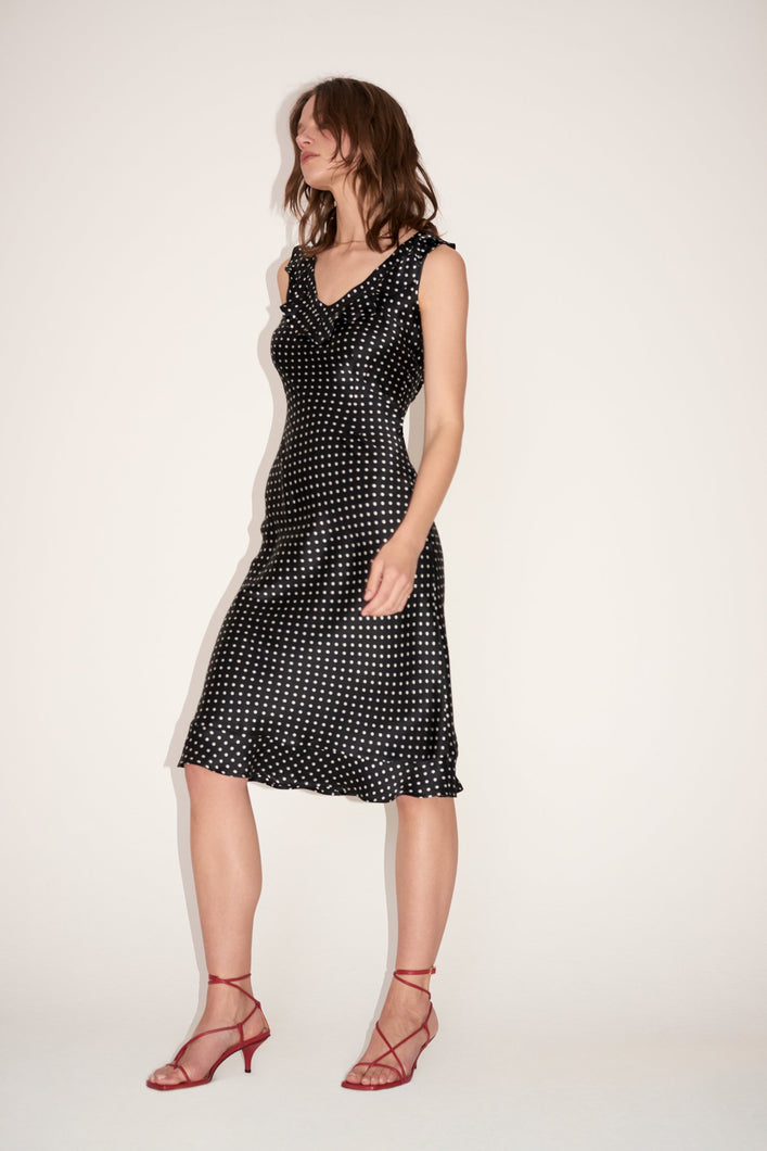 Silk polka-dot dress
