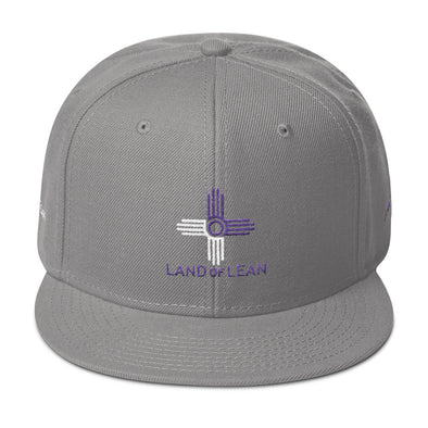Land of Lean Snapback Hat - Green Under Visor - (Purple & White Zia)