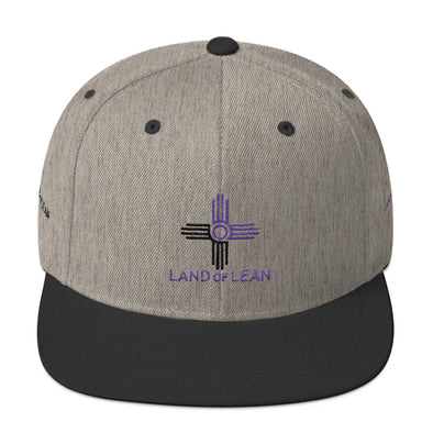 Land of Lean Snapback Hat - Green Under Visor - (Purple & Black Zia)