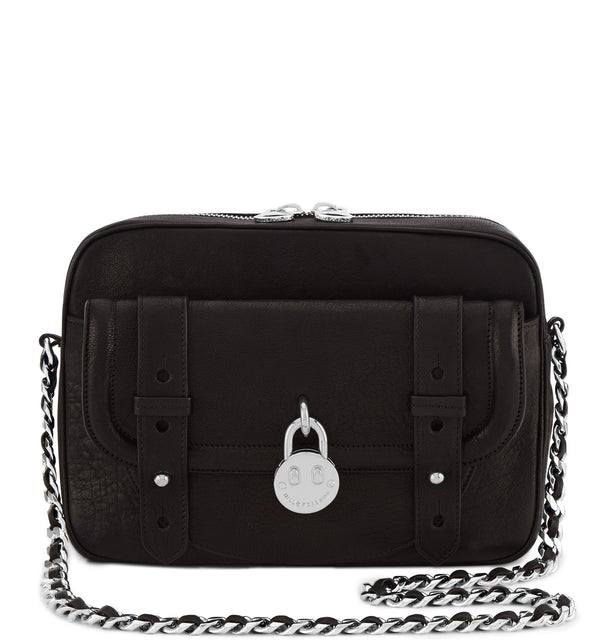Hill & Friends Black Leather Friendly Padlock Camera Bag