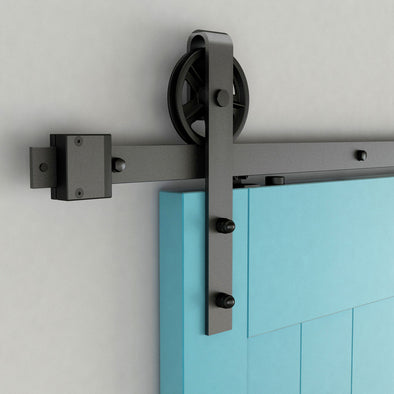 Big Wheel soft close bar door hardware in black steel with rail lengths starting at 60""