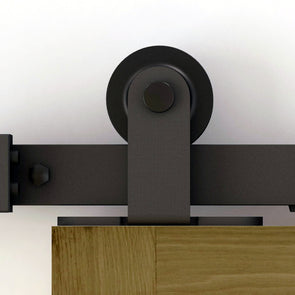 Modern or rustic, Top of Door soft close bar door hardware in black steel with many rail lengths, including custom sizes.