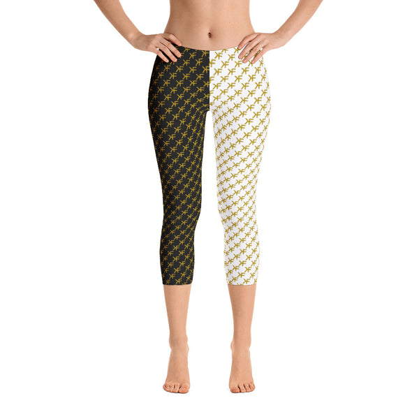 Split Gold Monogram Capri Leggings