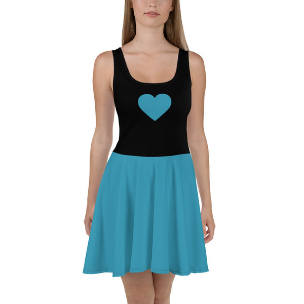 Sweetheart Skater Dress - Blue Jay