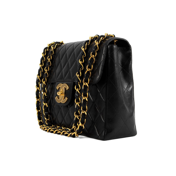 CHANEL Black Quilted Lambskin Jumbo Flap Bag
