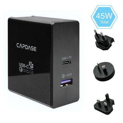 RANGER Super2P45 QC 3.0 and USB-C PD Wall Charger