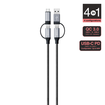 METALLIC CC-AM 4 in 1 USB-PD and QC 3.0 Sync and Charge Cable 1.5M