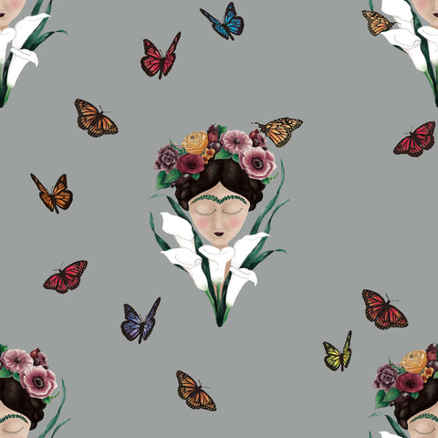 Frida wallpaper light grey/ small frida