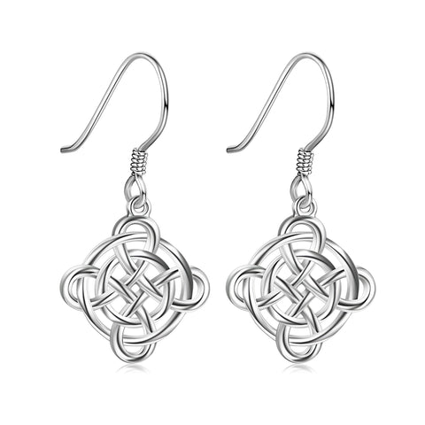 Celtic Knot Diamond Hollow Hanging Earrings Drop Women Summer Jewelry