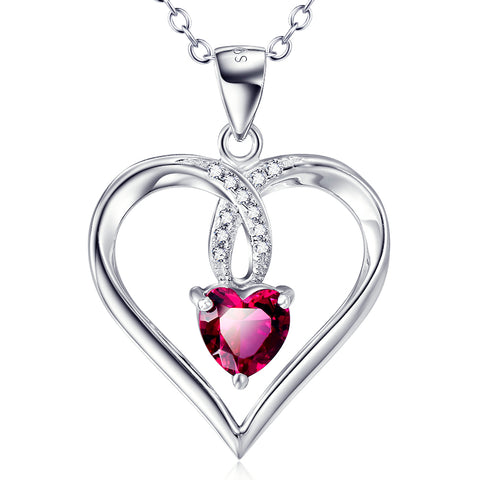 Heart Shaped Rose Red Cubic Zirconia Necklace Wholesale 925 Sterling Silver Jewelry For Woman