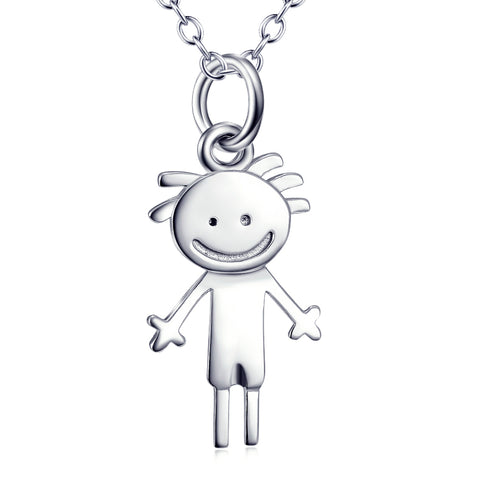 Cute Smiling Boy Shaped Necklace Customed 925 Sterling Silver Jewelry For Boyfriend Gifts
