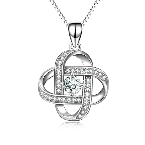 Zirconia Knot Necklace Jewelry Elegant Silver Chain Design Necklace